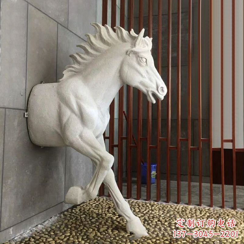 玻璃钢创意马雕塑-穿墙而过的动物雕塑摆件