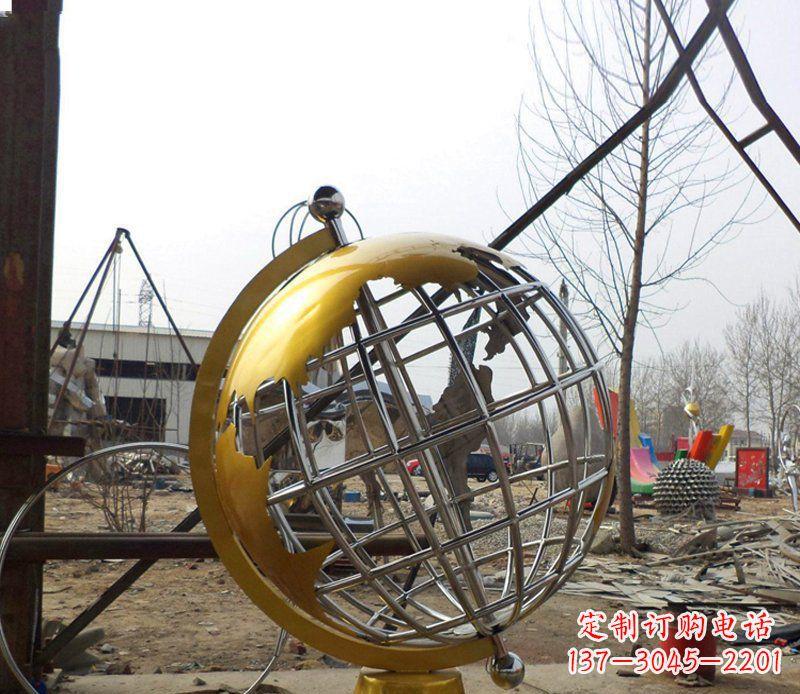 不锈钢地球仪学校雕塑