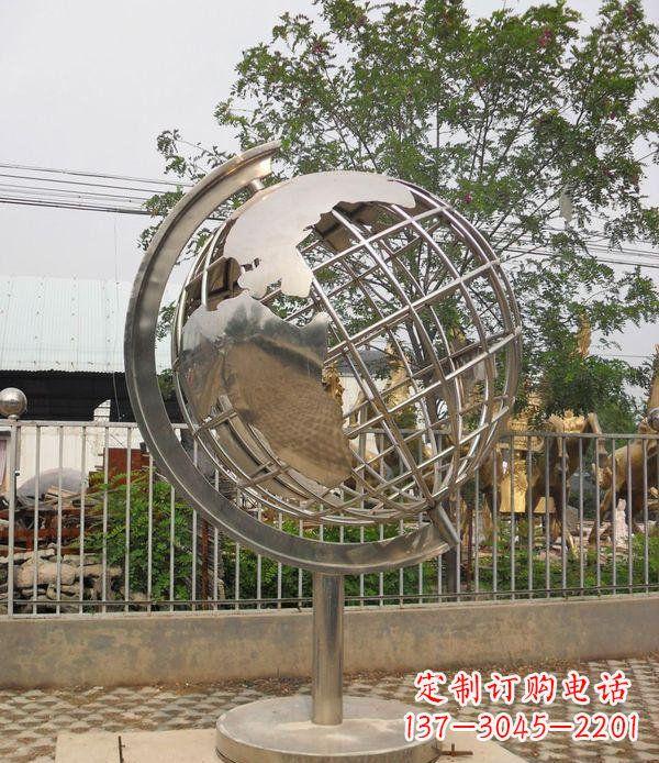 不锈钢地球仪校园雕塑_1