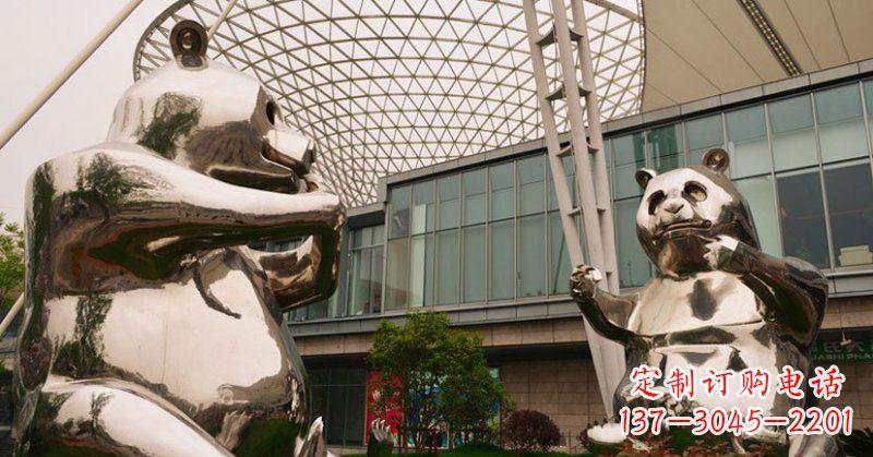 不锈钢公园动物镜面熊猫雕塑