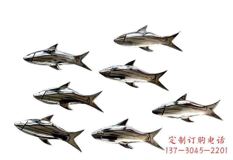 不锈钢公园镜面鱼群雕塑