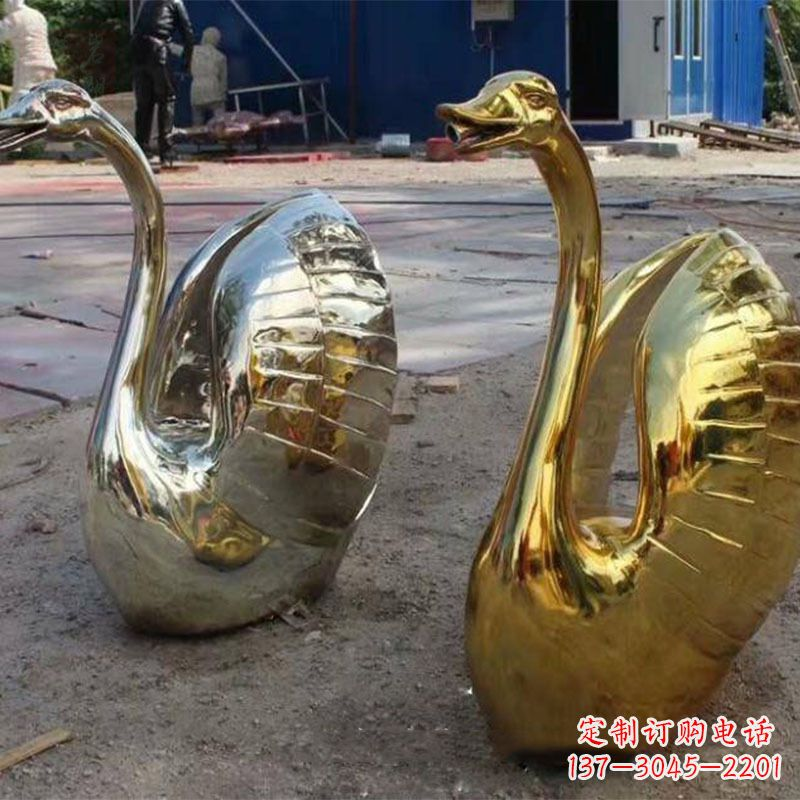 不锈钢镜面抽象天鹅水景喷水动物雕塑