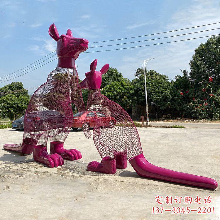 不锈钢铁艺网格袋鼠雕塑-公园园林广场动物景观摆件