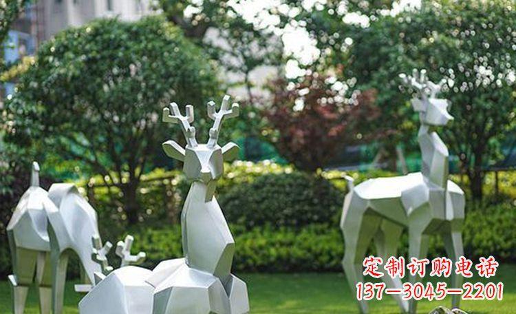 不锈钢小鹿抽象动物雕塑