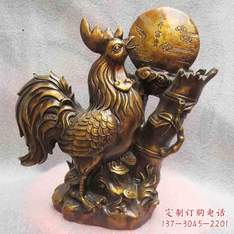纯铜公鸡雕塑-花开富贵生肖动物摆件