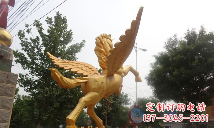 飞马广场景观动物铜雕