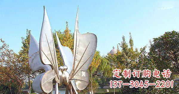 公园不锈钢抽象蝴蝶雕塑1