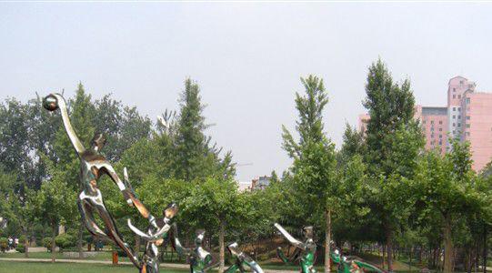 公园不锈钢打篮球雕塑