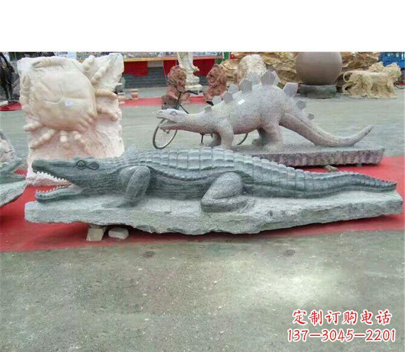 公园动物鳄鱼石雕