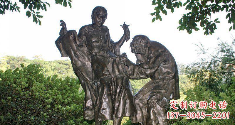 公园给孙女缝衣服的老奶奶小品铜雕