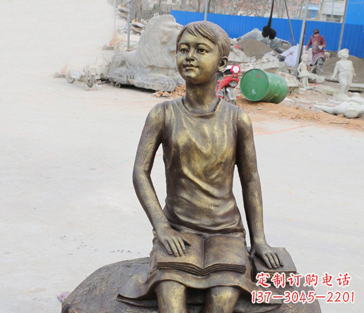 公园景观摆件看书的女孩铜雕