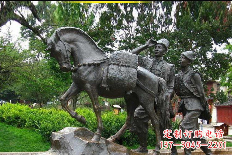 公园景观驮着东西的马铜雕
