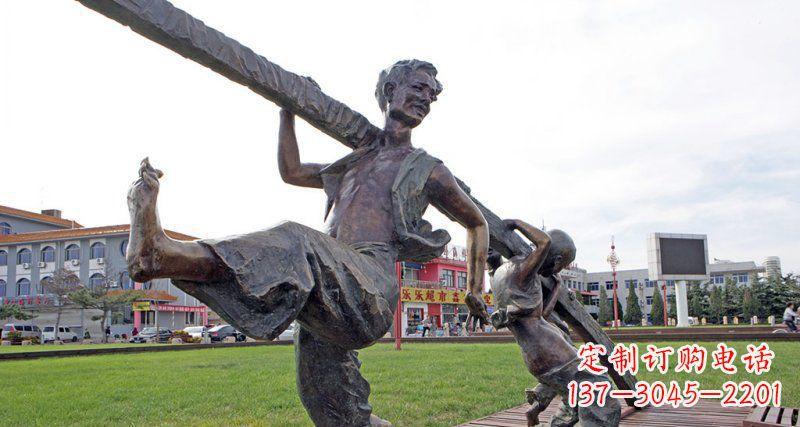 公园铸铜夸张人物铜雕