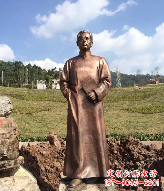公园铸铜陶行知名人铜雕