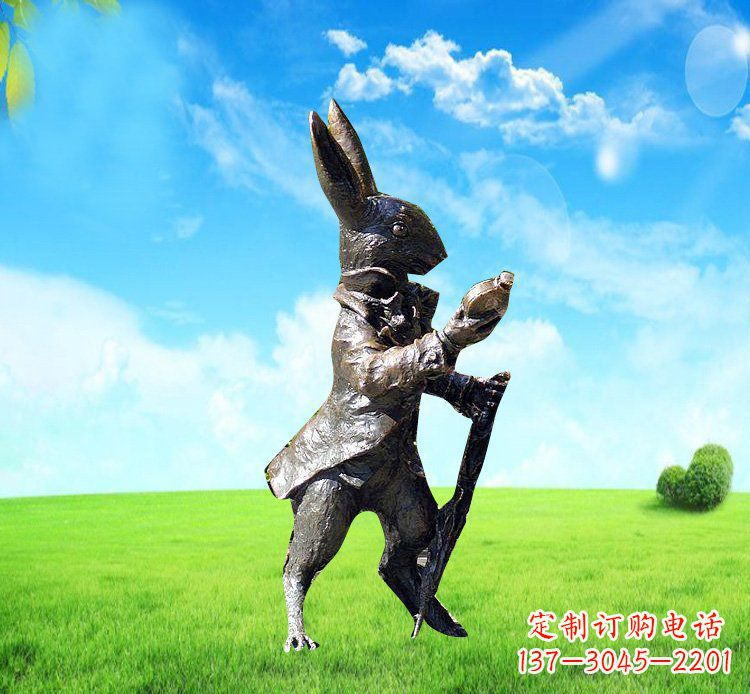 广场铜雕小兔挖萝卜动物雕塑
