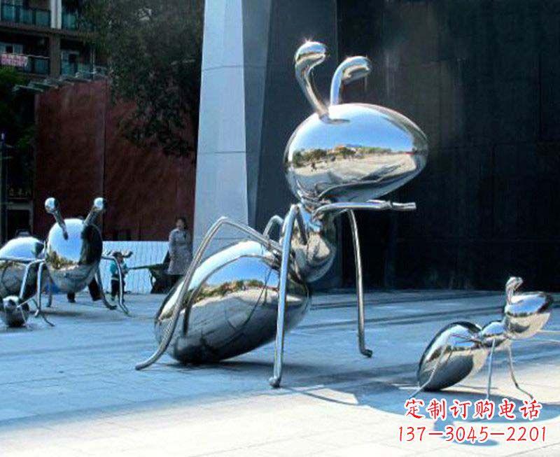 户外镜面不锈钢蚂蚁雕塑