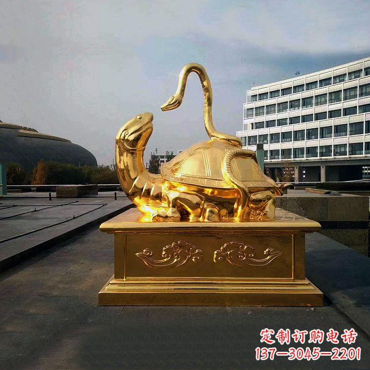 鎏金上古神兽玄武广场动物铜雕塑