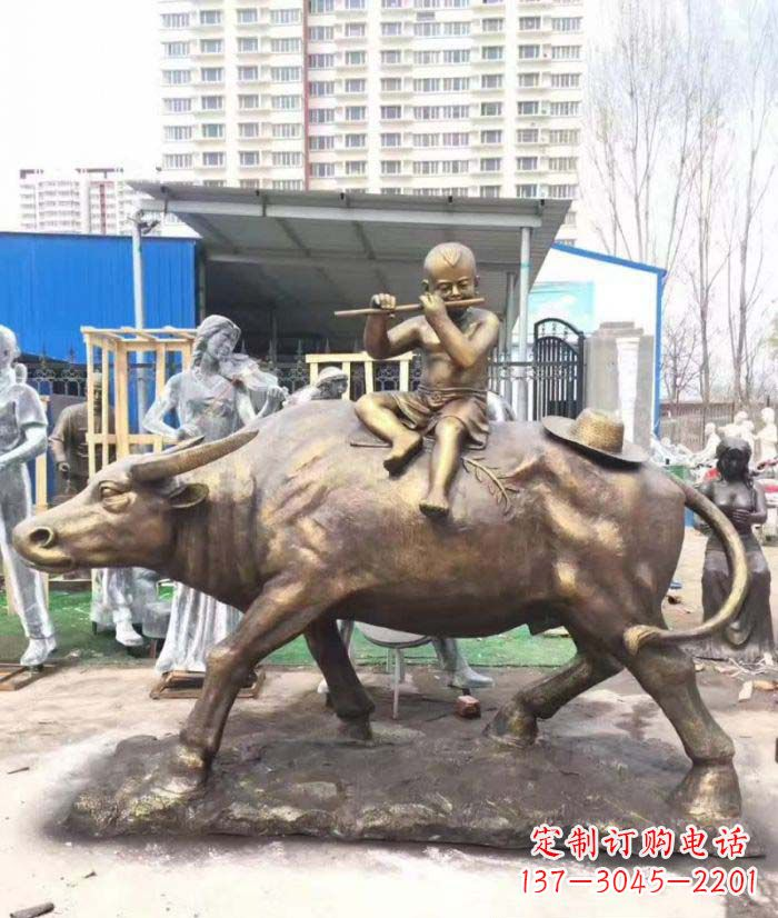 牧童骑在牛背吹笛人物儿童铜雕