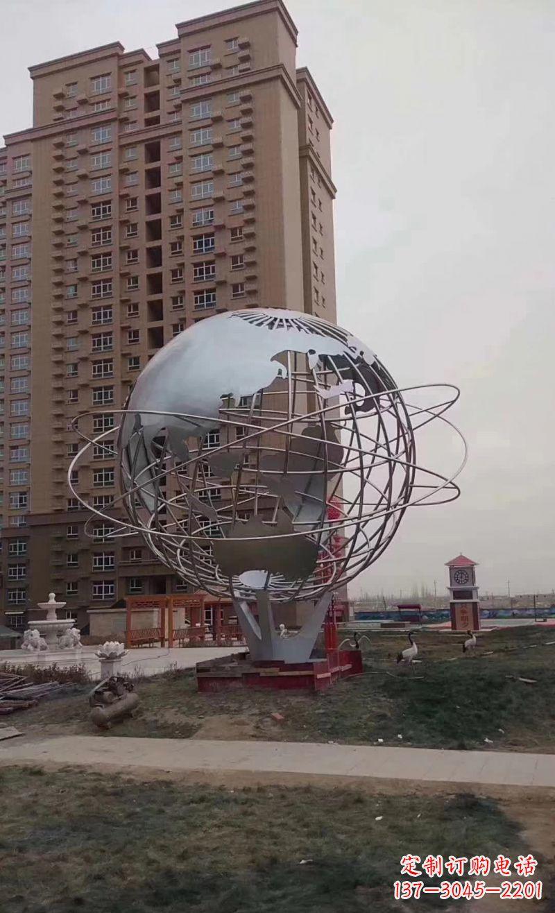 校园镂空不锈钢地球仪雕塑